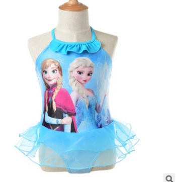 2017 new European and American children's one-piece swimsuit girl's frozen cartoon swimsuit speed sells hot style
