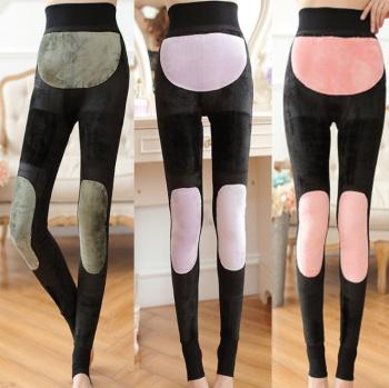Winter gold SMD nuangong kneepad leggings women plus velvet padded nylon foot one warm pants