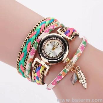 Aliexpress explosions fashion colorful hand-woven wrapped with two rings Bracelet Watch women's Bracelet Watch
