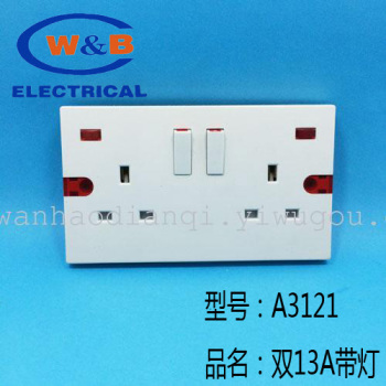 Wall switch socket panel six A3121 series double 13A switch panel with a warning lamp socket