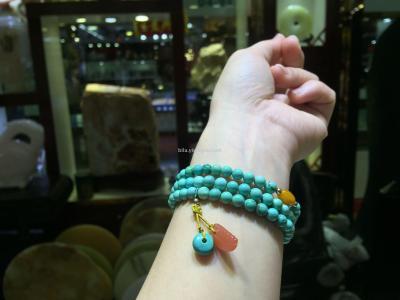 """Bela jewelry"" natural high ore turquoise porcelain Shi Yuanzhu bracelets"