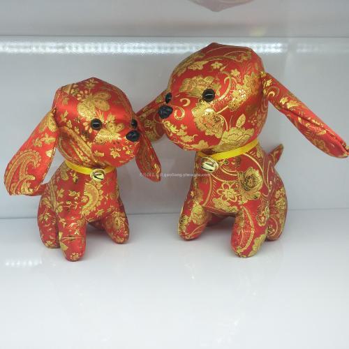 Dog mascots tangzhuang dog figurine Bell dog plush toys