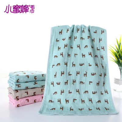 Burt's bees deer towel cotton towel fabric printing green dyeing and printing style lovely