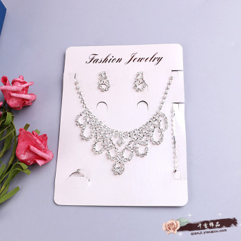 Jewelry Crystal necklace bracelet earrings ear nail ring female bride Wedding
