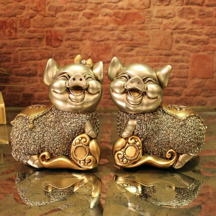 欧式树脂工艺情侣猪摆件客厅卧室家居招财实用软装礼品