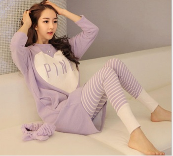 Winter Korean Lady's long sleeve Pajama Princess pink heart-shaped leisure fashion girls pajamas