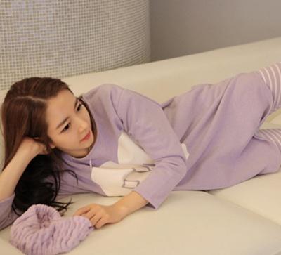 Winter Korean Lady's long sleeve Pajama Princess pink heart-shaped leisure fashion girls pajamas