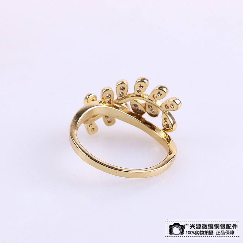 镶嵌水钻戒指树叶形钻石指环女款戒指_ 广兴源微镶铜