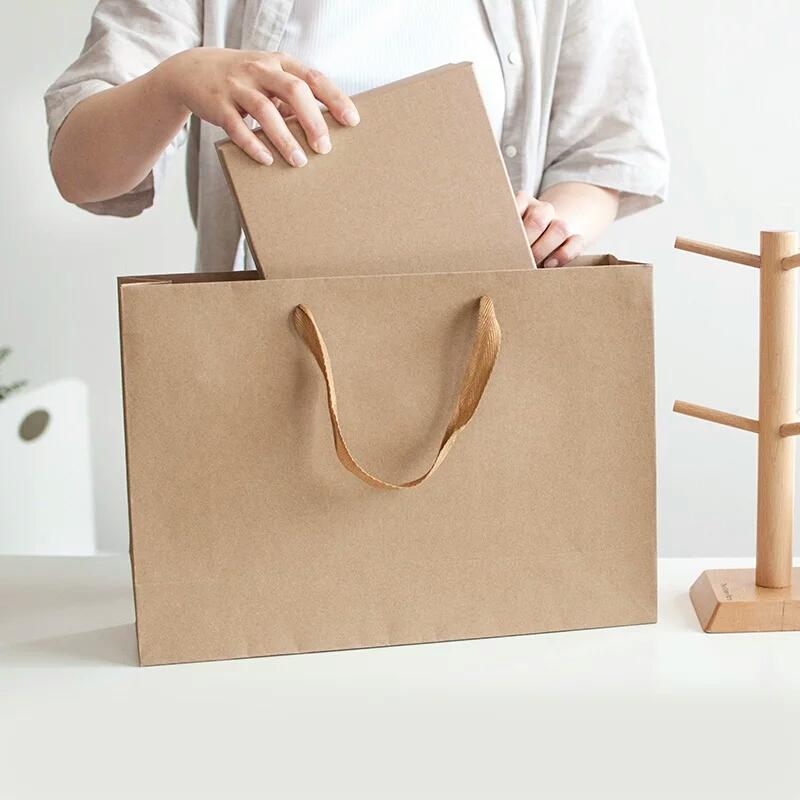 Supply Horizontal Green Kraft Paper Bag Clothing Retro
