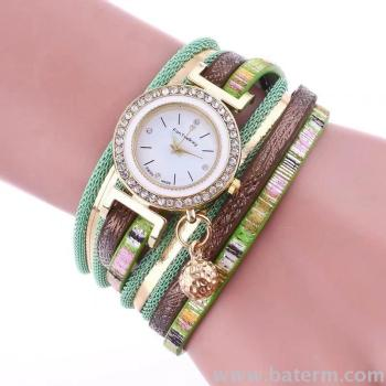 Fast selling fashion color chain ball pendant winding two circles lady Bracelet watch
