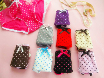 All cotton ladies and girls underwear lady's triangle dot underwear wholesale