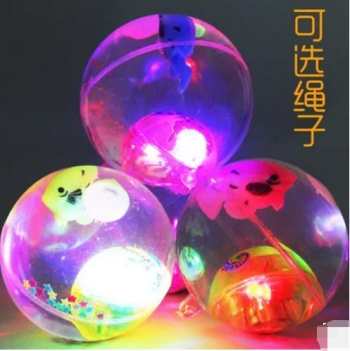 5.5 with rope flash transparent crystal elastic ball light jump jump water polo children toy stall Night Market