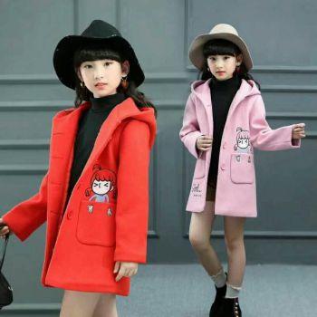 春款女大童呢外套加厚保暖外厂家直销微信13255798456