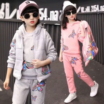 Red Clay Rabbit Plush thickening three sets autumn and winter wear butterfly cotton coat sportswear set girl's coat bag