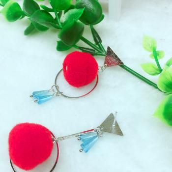 Red Fur ball Winter earring ins net Red East Gate Korea Allergy Earring