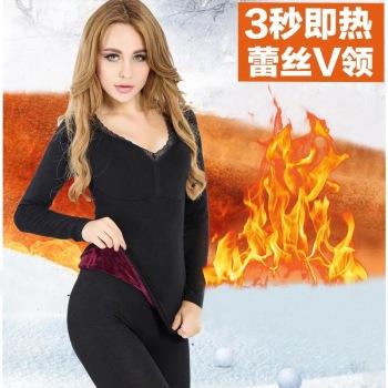 Super soft flannel plush warm underwear blouse lady thickening warm single piece long sleeve