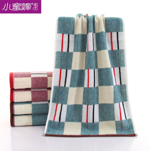 Small Bee Towel new plaid pure cotton strand couple style refreshing trendy