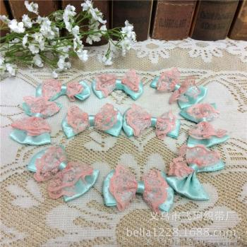 Polyester Ribbon lace printing point butterfly knot tiffany Blue Tie Garment accessories Sewing Fabric Ribbon Wholesale
