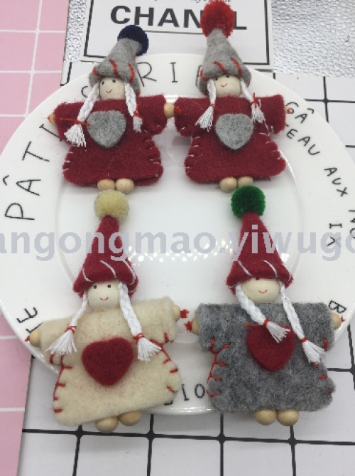 Little beauty wool felt stamp music handmade DIY jewelry Crafts garment accessories Pendant accessory 190.12