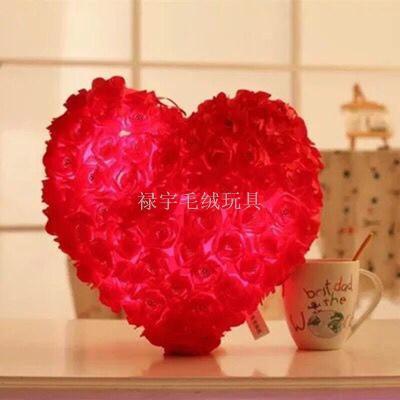 Burst Valentine's Day heart-shaped rose pillow love cushion led colorful plush toy wedding