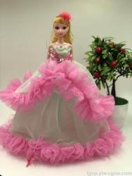 芭比婚纱娃娃公主双层双色钥匙扣