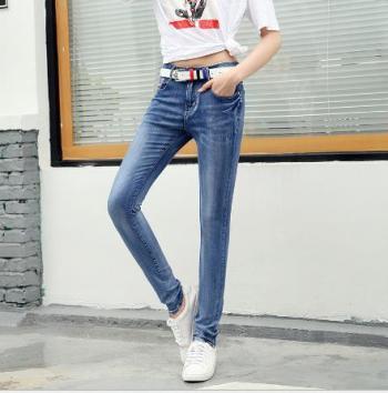 2017 Winter new Jeans female Korean version high waist pencil pants elastic Big code trousers