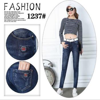 Autumn and winter new jeans female Korean version slim feet trousers high waist big yards pencil trousers trousers