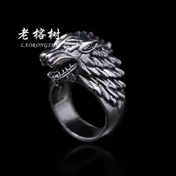 Ice and Fire song Ice original Wolf domineering wolf Head men Titanium steel ring