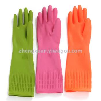 New extended domestic household latex gloves anti-slip dishwashing gloves