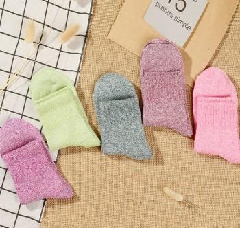 Autumn and winter coarse stockings children pure color family wind hundred female socks thickening nap socks children