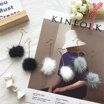 Mink fur ball earrings temperament long earring Korea fashion earrings female New Jewelry