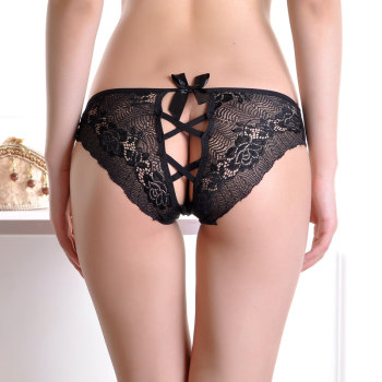 Sexy female lace butterfly knot transparent low waist briefs head cross band sex lure underwear girl