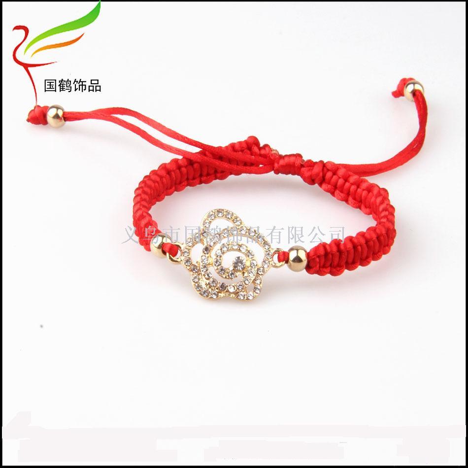 红绳编织手镯镶钻手链