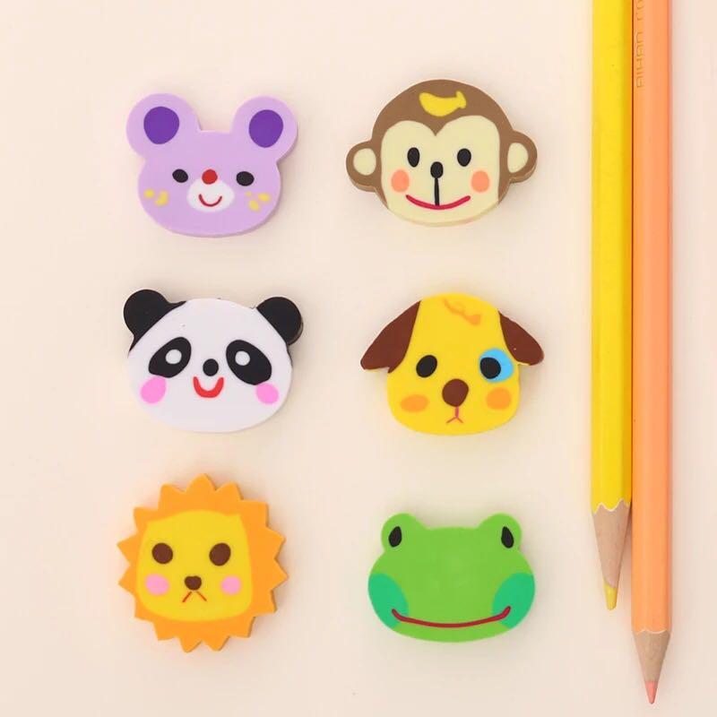 卡通动物头造型橡皮擦 幼儿园小学生男女孩奖品 可爱橡皮儿童礼图片