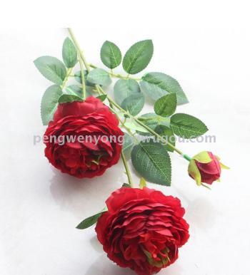 Single three-head wedding props simulation Flower Rose
