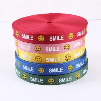 smile笑臉印花羅紋帶diy服裝帽子螺紋帶