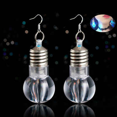 Personality Earrings ear Hook ear nail net red same creative night shop led colorful light bulb earrings