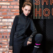 European Sports Coat Female Long Sleeve Autumn and winter casual Yoga Suit Black Running Fitness mesh stitching