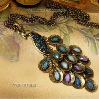 @ European and American Foreign trade jewelry inlaid gem peacock vintage necklace sweater Chain
