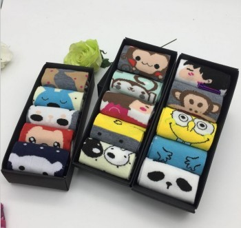 Women Socks Day series Cotton socks boxed gift bar cute cartoon gift box wholesale