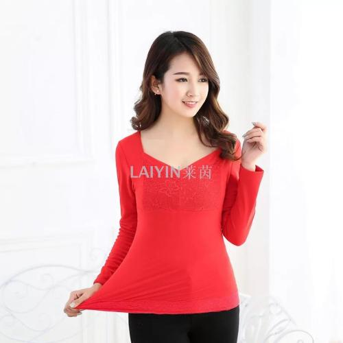 Lace plastic body warm underwear blouse Autumn winter plush thickened single piece low collar long sleeve bottom shirt