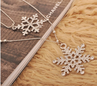 Full-bore snowflake double long sweater chain decoration necklace female Accessories