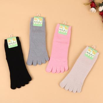 2017 new cotton toe socks five toe socks solid color tube loop five finger socks women socks