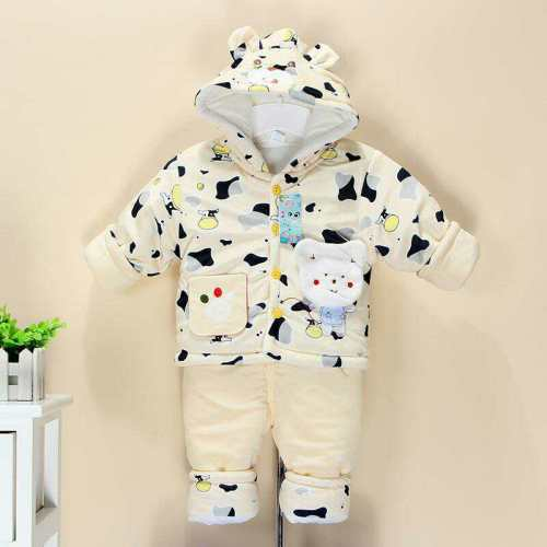 Newborn cotton padded winter thickened newborn baby cotton jacket suits winter baby clothes cotton