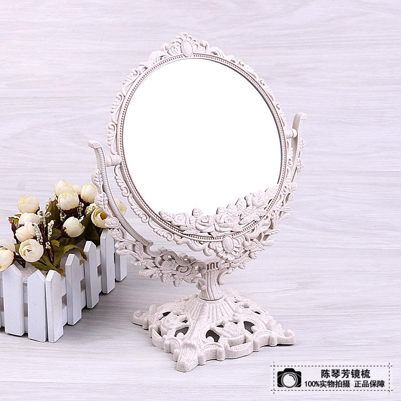 简约欧式美容镜台式化妆镜双面梳妆镜子便携公主镜镜