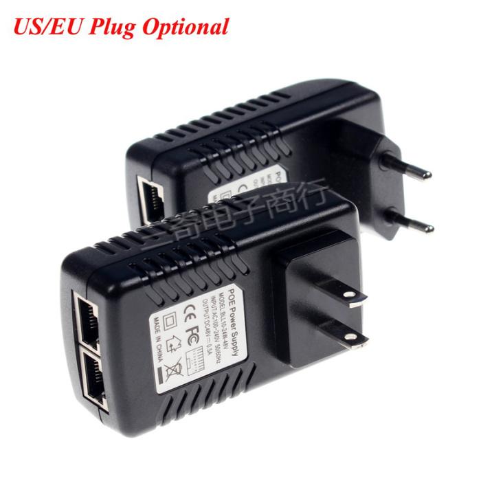 EU Plug CCTV Security 48V 0.5A 24W POE Wall Plug POE Injector Ethernet Adapter I
