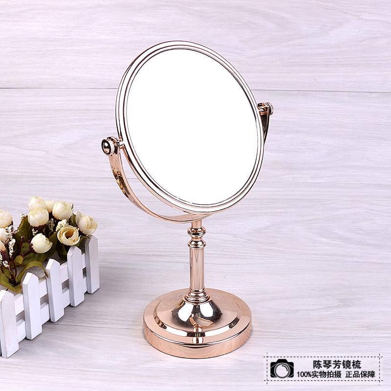 台式化妆镜欧式镜子双面梳妆镜结婚公主镜随身便携