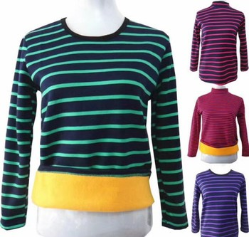 Winter middle-aged women's stripes plus cashmere thermal underwear loose large size shirt spread hot bottoming shirt