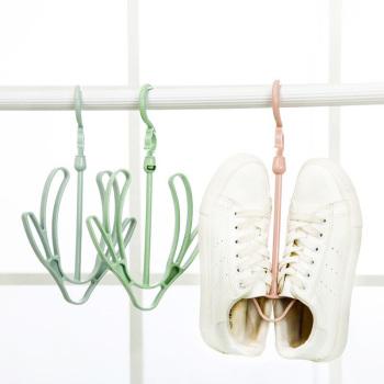 Can be rotated seamless trace shoe hanging hook hanger balcony drying shoe rack plastic racks