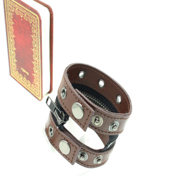 Zipper leather metal bracelet eye 2 connected bracelet punk rock style factory outlets
